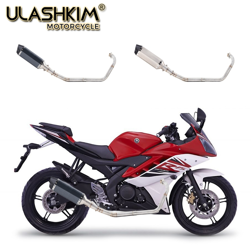 Image 2 - Motorcycle Full Exhaust Escape System Modifed Middle Link Pipe Slip On For yamaha YZF R15 R5 MT 15 MT 15 125 2008 2017-in Exhaust & Exhaust Systems from Automobiles & Motorcycles