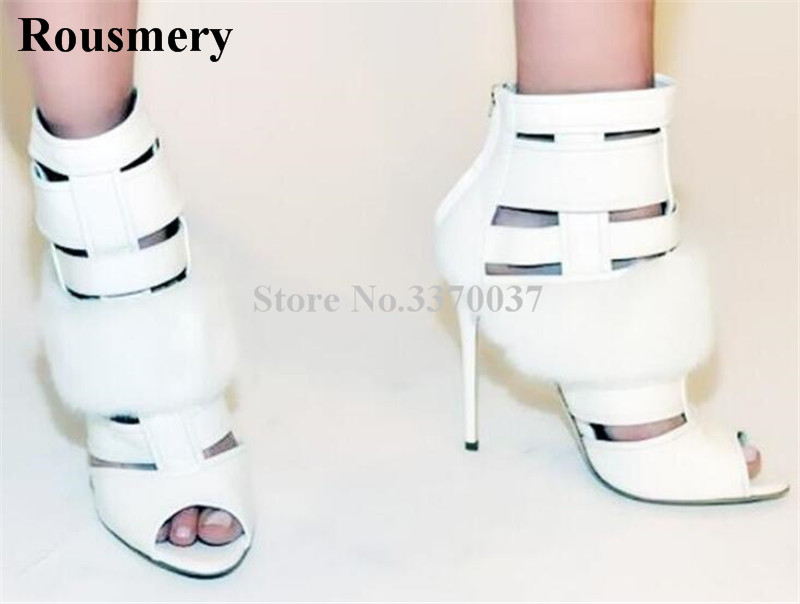 New Fashion Women Open Toe White Fur Design Gladiator Short Boots Cut-out Stiletto Heel High Heel Ankle Boots Dress Shoes fashion women s sandals with metal and stiletto heel design