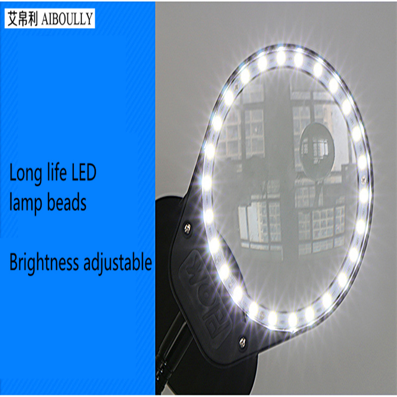 AIBOULLY PD 5S Clamping Magnifier 10X Times With LED Lights Brightness Nail Lamp Micro carving Tool Handmade Identification in Magnifiers from Tools