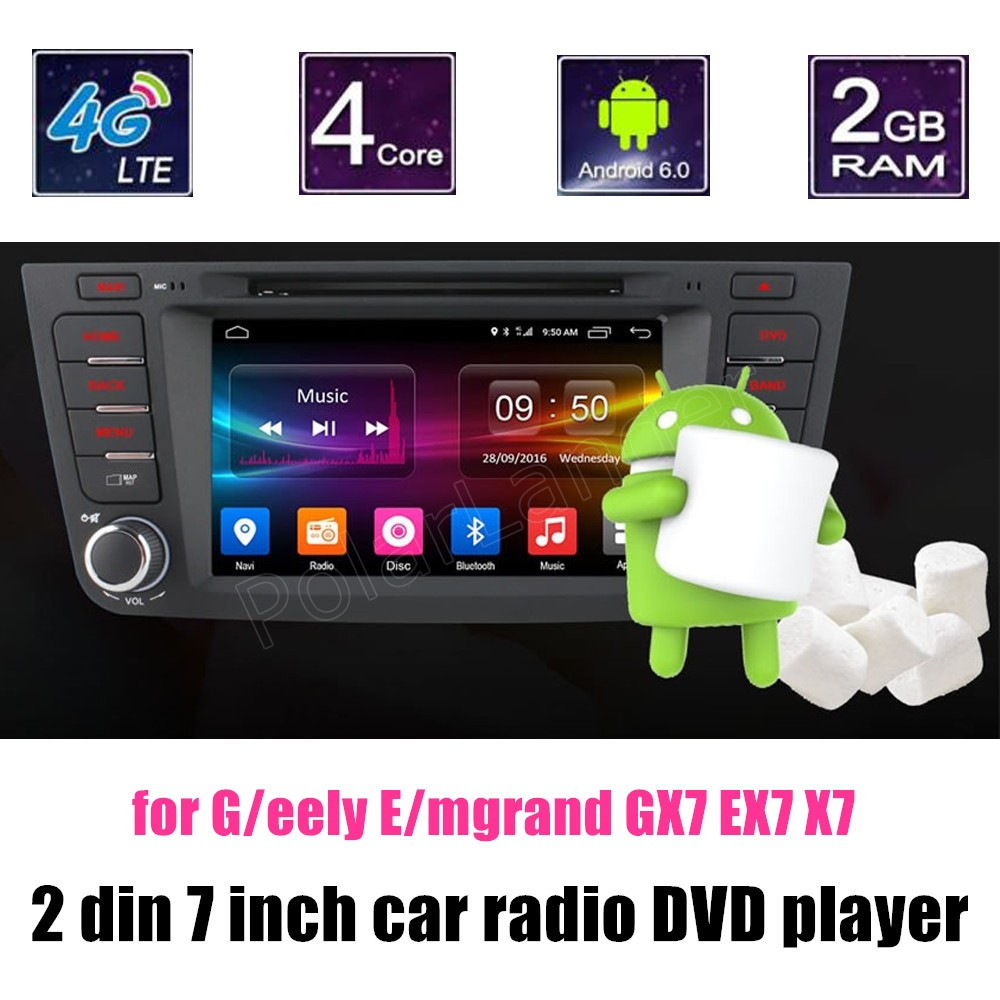 2 Din 7 inch Car Video Player DVD radio GPS Navigation WiFi Auto Audio Bluetooth Quad Core for Geely Emgrand GX7 EX7