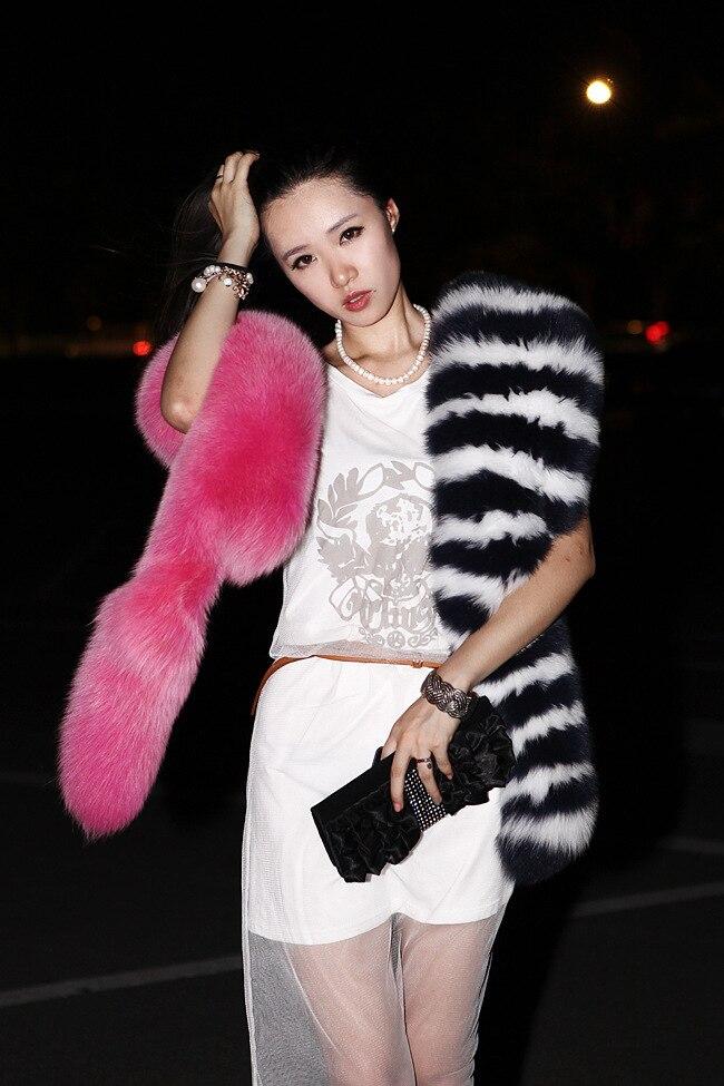 Womens Fur Scarfs Fashionable Luxury Runway Show 200cm Long Faux Fur Fox Fur Stole Collar Strip Patchwork Pashmina Scarf J53