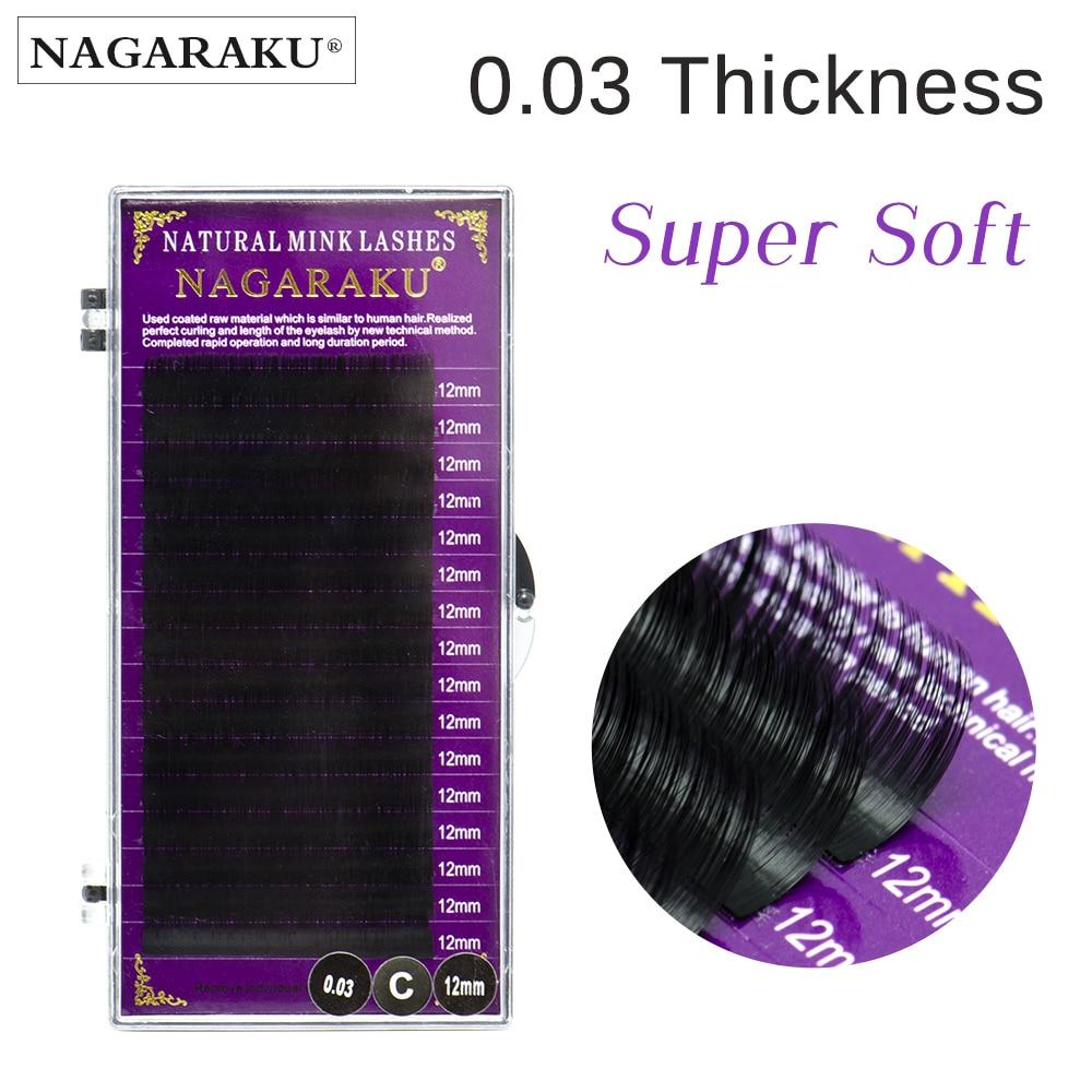 NAGARAKU Individual Eyelashes Faux Mink Eyelashes Extensions Artificial False Eyelashes 0.03 Thickness Premium Soft