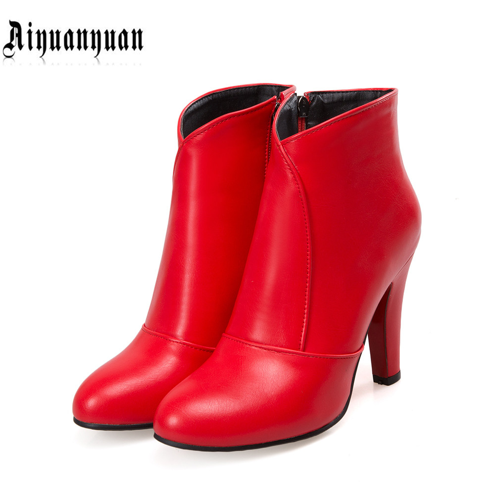 2017 Sexy EUR big size to 40 41 42 43 44 45 46 47 48 zipper design pointed toe women PU leather ankle boots FREE SHIPPING free shipping breathable vap id 108905 108917 size eur 40 45