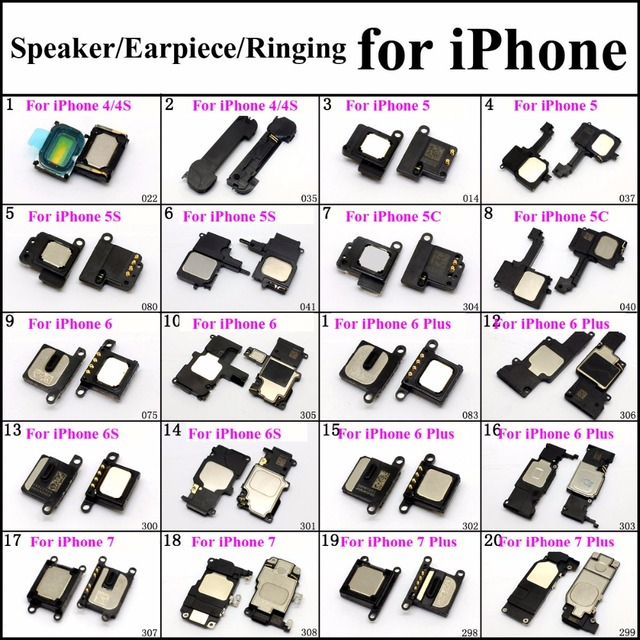 ChengHaoRan 20models Speaker/Earpiece/Ringing for iPhone 4 5 6 7 Plus Mobile Phone Repair Parts replacement wholesale Loudseaker