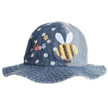 Fashion Cowboy Cotton Baby Girls' Denim Bucket Sun Protection Hat Dots Printed Hat