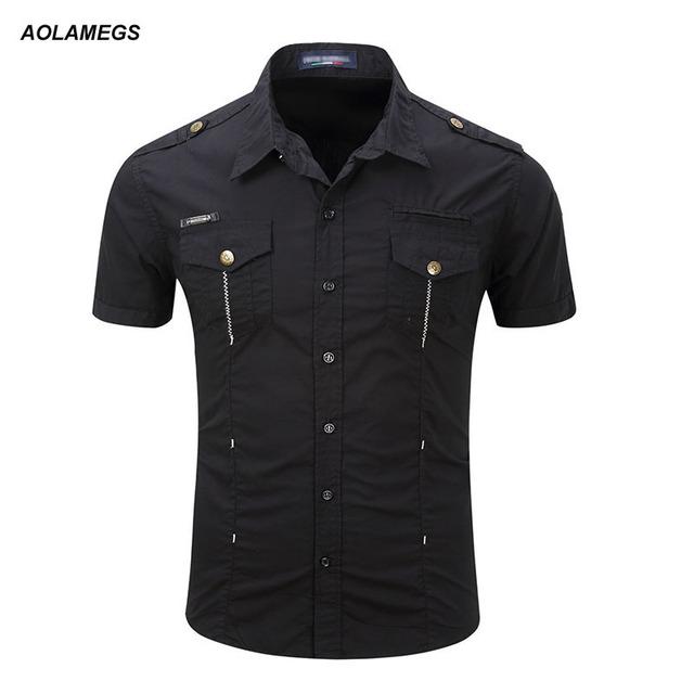 Aolamegs carga sólido camisa de manga corta de los hombres camisa de 2017 del verano del estilo de moda casual clothing algodón para hombre camisas de trabajo al aire libre