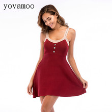Yovamoo 2018 Sweet Fashion Spring Sexy Color Block Spaghetti Strap Knitted Summer Sundress Puff Dresses Vintage Vestidos