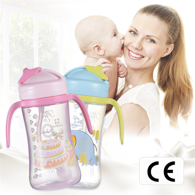 240 Ml Baby Drink Training Bottle Cup With Straw And Two Handles Sliding Closure Baby Water Bottle PP Material Leak Proof