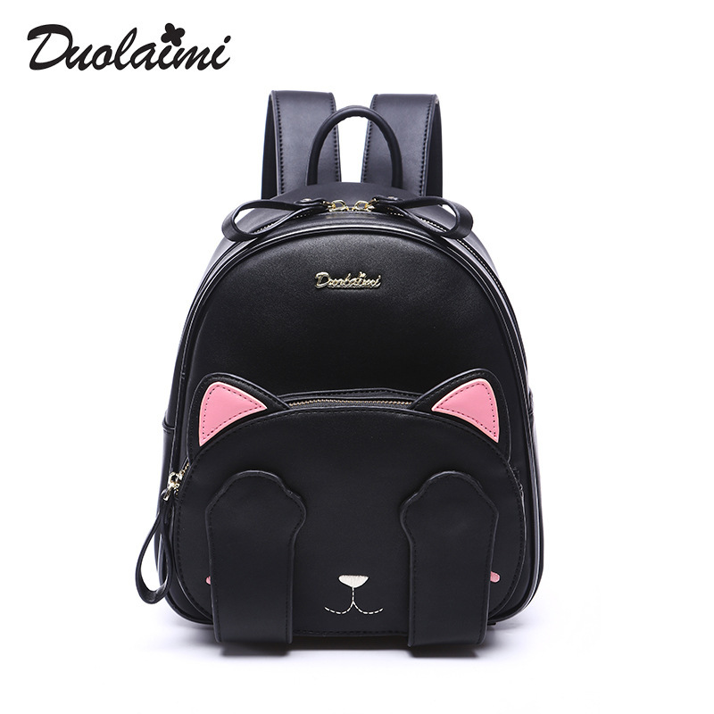 2017 Preppy Style School Backpacks high Quality Pu Leather Fashion Cat Backpack Black  Women Shoulder Bag Travel Back Pack Sac fashion pu leather backpacks high quality women bag preppy style backpack school bags for teenager girls women s back pack a0331
