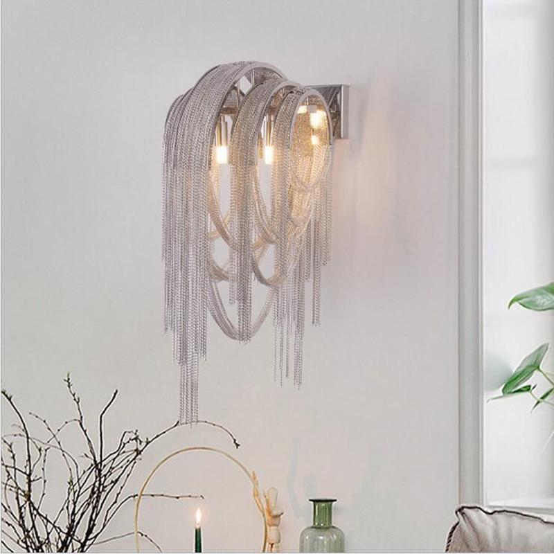 Post-modern minimalist tassel aluminum chain wall lamp Nordic atmosphere aisle bedroom bedside lamp background led wall lighting modern lamp trophy wall lamp wall lamp bed lighting bedside wall lamp