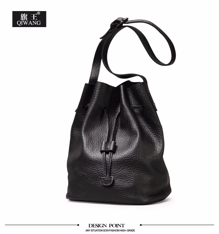 37b6572bf212 QIWANG Ruched Hobo Bag Luxury Soft Bucket Bag Genuine Leather Black ...