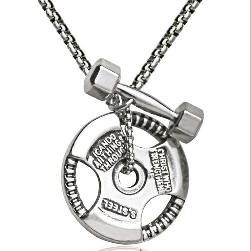 Men Stainless Steel Dumbbell Pendant Necklaces Fitness Bodybuilding Crossfit Charms Neck ...