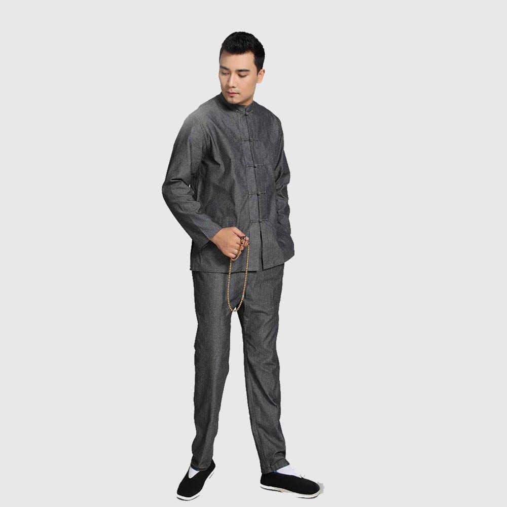 プラスサイズ中国のカンフースーツ綿 100% ルーズウー Shu 太極拳セットジャケット & ズボン ML XL XXL 3XL 4XL YZT090610