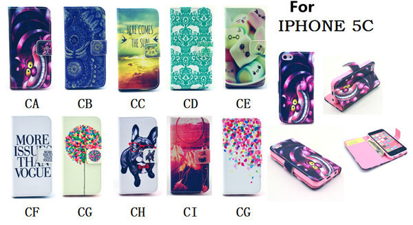 Dropshipping Leather PU Cover Phone Case For Apple Iphone 5c