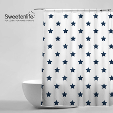Sweetenlife 180x180cm WaterproofAnti Mildew Shower Curtains Two Colors WhiteNavy Blue Background Stars Bathroom Curtain