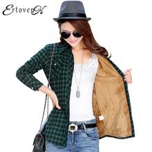 Coats Real Autumn Winter Women Coat Jacket 2017 Plaid Shirt Outerwear Abrigos Mujer Long Sleeve Casaco Feminino Clothing One963