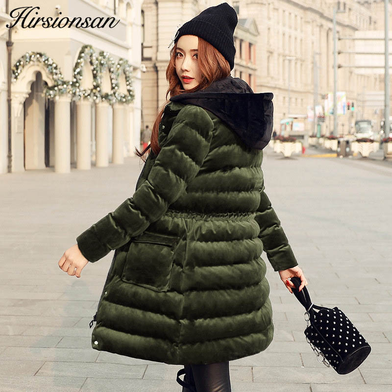 Newest Velour Coat Hooded Winter Jacket Women Korean Style Mid Long Velvet Parka Thicken Slim Warm Outwear Ladies Fashion Parkas 2017 winter new women hooded wadded jacket coat parka overcoat velvet thicken warm outwear high quality cloud printing