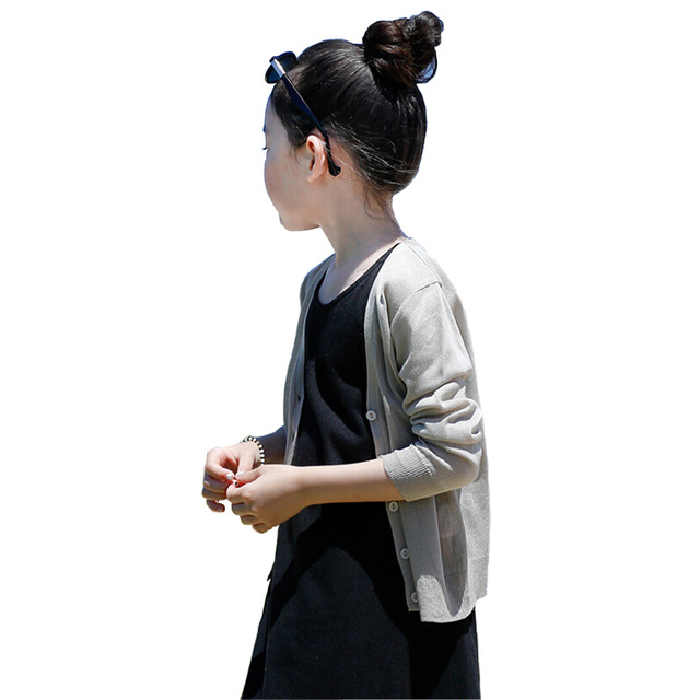 Cô gái Cardigan Áo Len Mùa Xuân Mùa Hè Màu Sắc Rắn Bông Bé Cô Gái Áo Len Trẻ Em Dệt Kim Quần Áo Cardigan Áo Khoác DQ824