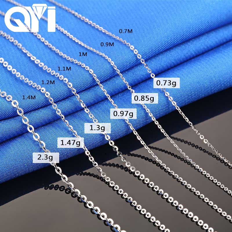 QYI Fashion 18K White Yellow Rose Gold Link Chain 18 inches Au750 Necklace Pendant Wendding Party Gift For Women yoursfs heart necklace for mother s day with round austria crystal gift 18k white gold plated