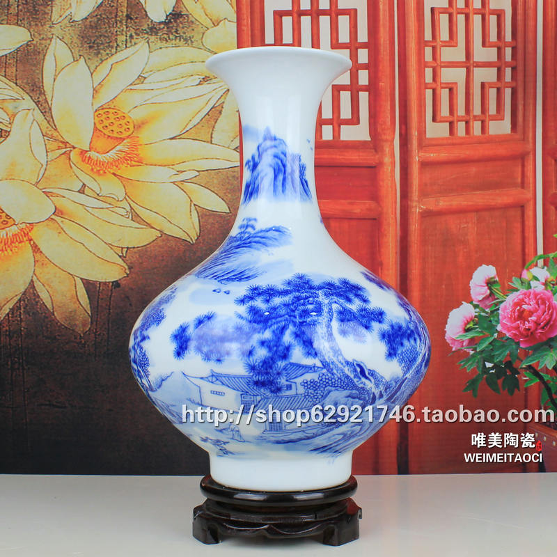 Керамика вазы синий и белый фарфор современная мода качество ручной работы, антикварная ваза украшения дома