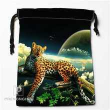 Nebula and Leopard Drawstring Bags Custom Storage Printed Receive Bag  Compression Type Bags Size 18X22cm Storage