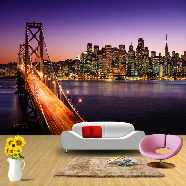 New York Bridge Construction Mural 3D Wallpaper For Wall 3d Backdrop  European Television Wallpaper Warm Bedroom