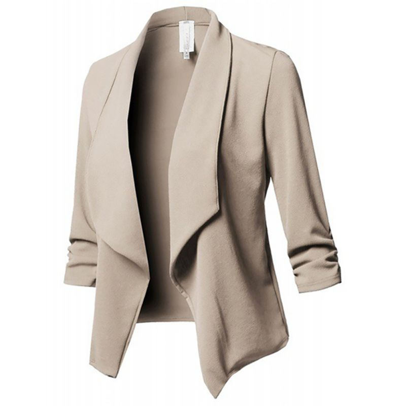 Slim Blazers Women Autumn Jacket Female Work Office Lady None Button Solid Lapel Pleated Long Sleeves Business Blazer Coat