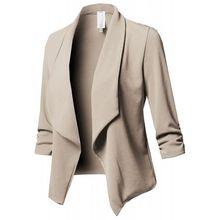 Slim Blazers Women Autumn Jacket Female Work Office Lady None Button Solid Lapel Pleated Long Sleeves Business Blazer Coat недорого