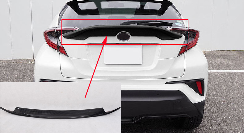 for Toyota C-HR 2016-2018 Black Accessories Rear With Wing Spoiler Cover Trim