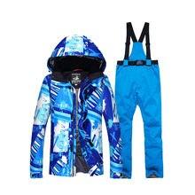 Мужская одежда для спорта на открытом воздухе, зимний костюм, одежда для сноуборда, непромокаемые ветрозащитные зимние лыжные костюмы, куртки + нагрудники, зимние брюки