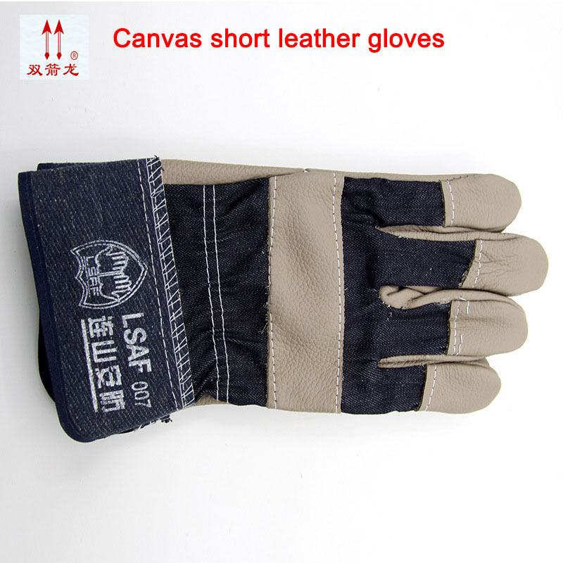 The new 2017 guantes trabajo splicing cowhide 26 cm welding gloves pattern of thickening mechanic gloves2 double/package the new 2017 guantes trabajo yellow anti cut driving gloves second grade a cowhide gants travail hommes