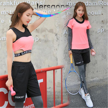 Jersqons 4 Pcs New Sports Suit Women Yoga Set Fitness Bra T-shirt Shorts Pants Sportswears Breathable