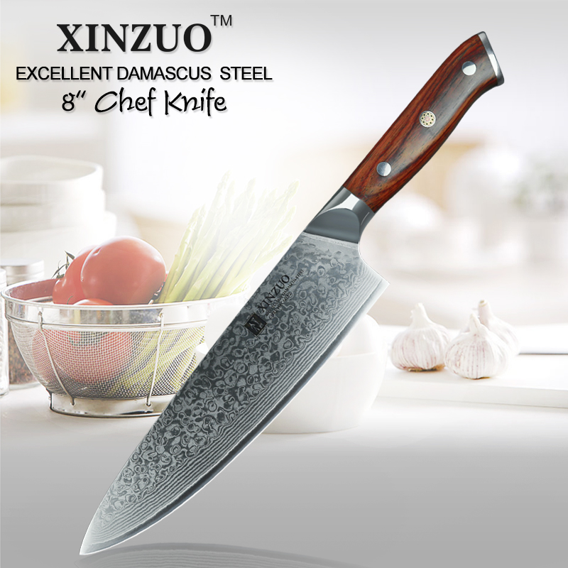 XINZUO 8 pouces couteau de chef Japonais Damas En Acier Forgé Couteau de Cuisine Professionnel Gyutou Couteaux acier inoxydable Rosewood Poignée
