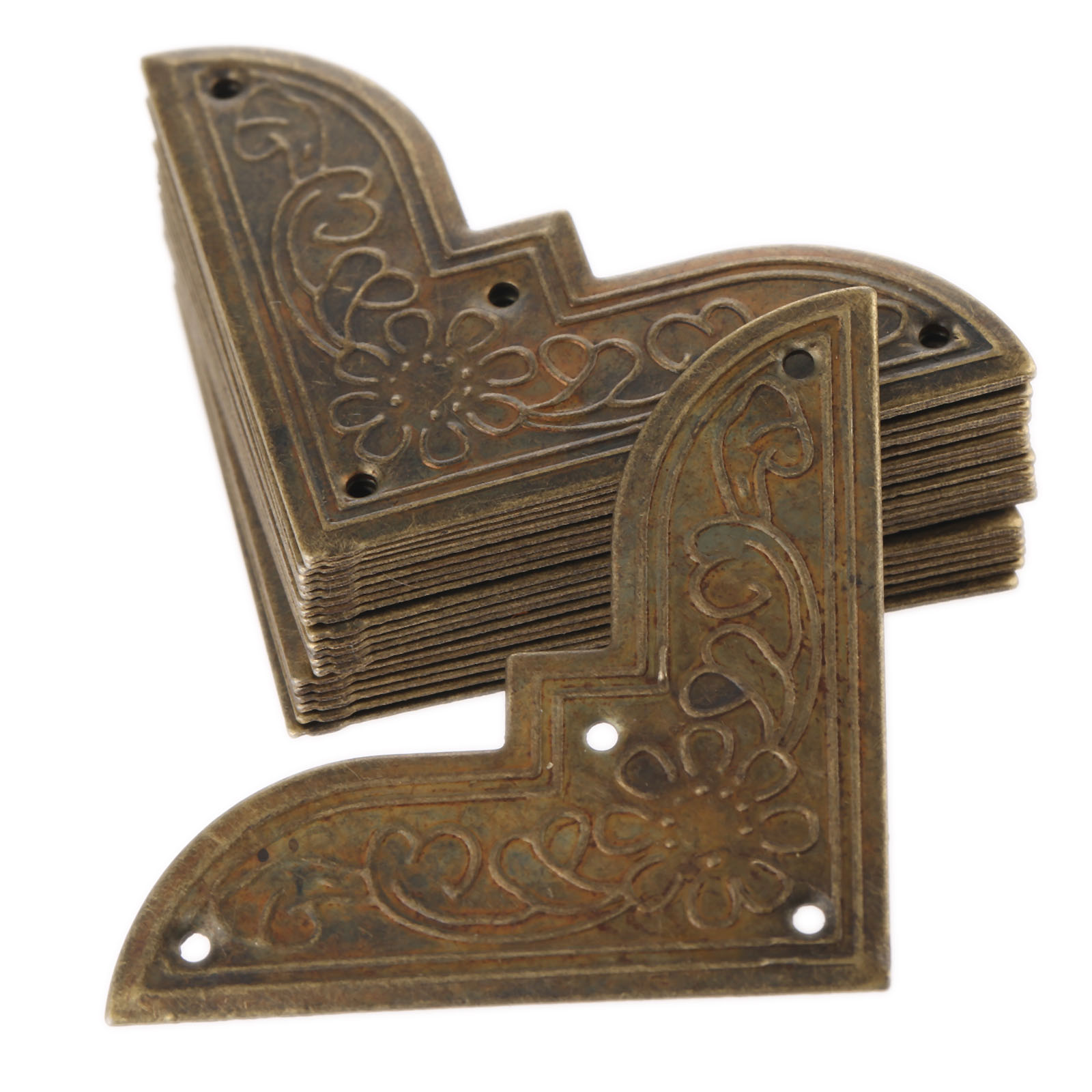 20Pcs Furniture Fittings Antique Corner Bracket Jewelry Gift Box Wood Case Decorative Feet Leg Corner Protector for Furniture 12pcs antique metal decorative protective corners jewelry box gift wood case feet leg corner guard for furniture 24 screws
