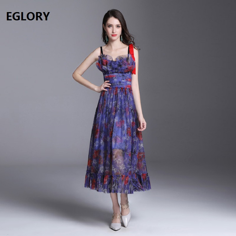 New 2018 Summer Women Fashion Dress Ladies Sexy Club Party Spaghetti Strap Beautiful Floral Print Casual Flare Dress Beach Lady