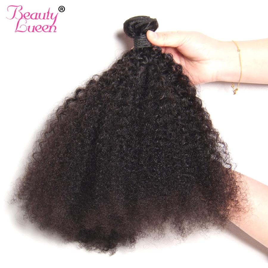 Mongol haj Afro Kinky göndör hajhosszabbítás Emberi haj köteg - Emberi haj (fekete) - Fénykép 3