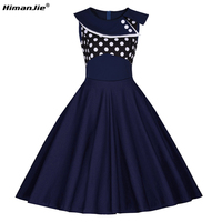 HimanJie Women 50s 60s Retro Vintage Dress Polka Dot black Patchwork Sleeveless Summer Dress Rockabilly large Swing Party Dress
