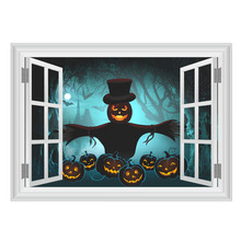 halloween 3d fake window party funny decoration accessories pumpkin light ghost home wall decals scary art mural decor stickers - Halloween Window Decals