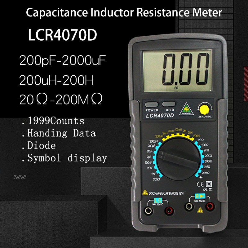 Professionale Multimetro Digitale LCR ponte digitale Multimetro di resistenza del tester del tester di Capacità Di Induttanza multimetro Meter