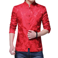 Buttons Chinese Collar Suit Jackets Slim Fit Mens Blazer Chinese Style Jackets Men Red Color in Men's Formal Blazer