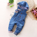 Autumn spring bear baby denim overalls Boy's Girl's Jumpsuit brand kids bib pants children's hooded trousers babies rompers