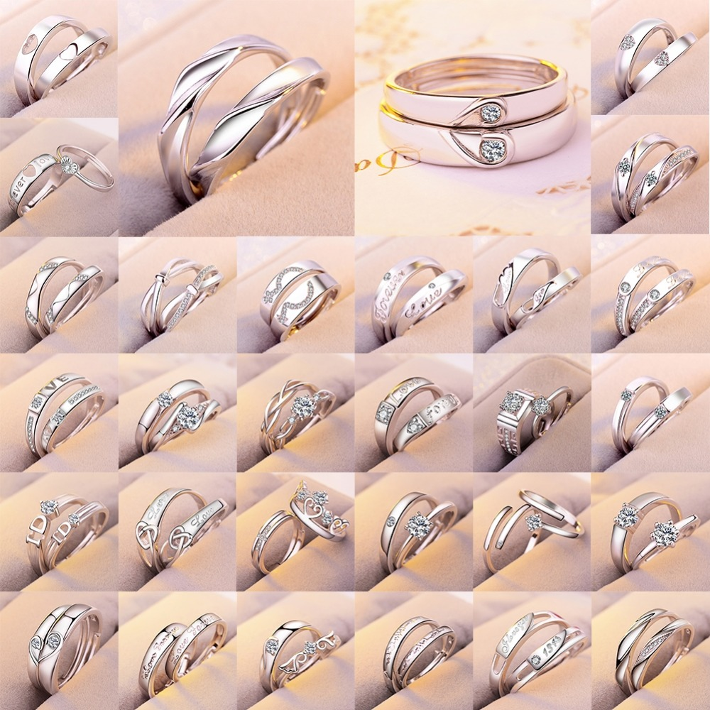 Engagement-Rings Adjustable-Ring Couples Cz-Stone Crystal Stainless-Steel Wedding Fashion