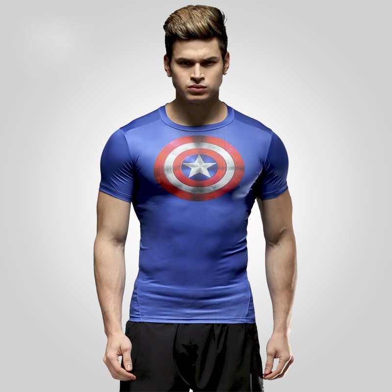 NEW 2015 Marvel Captain America 2 Super Hero lycra compression tights Joggers   T     shirt   Men fitness clothing short sleeves S-XXXXL