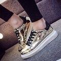 Manresar 2016 Новый Сверкающих Женщины Золото Серебро Обувь Лианы Платформы Квартиры ИСКУССТВЕННАЯ Кожа Повседневная Обувь Sapato Feminino Размер 35-40
