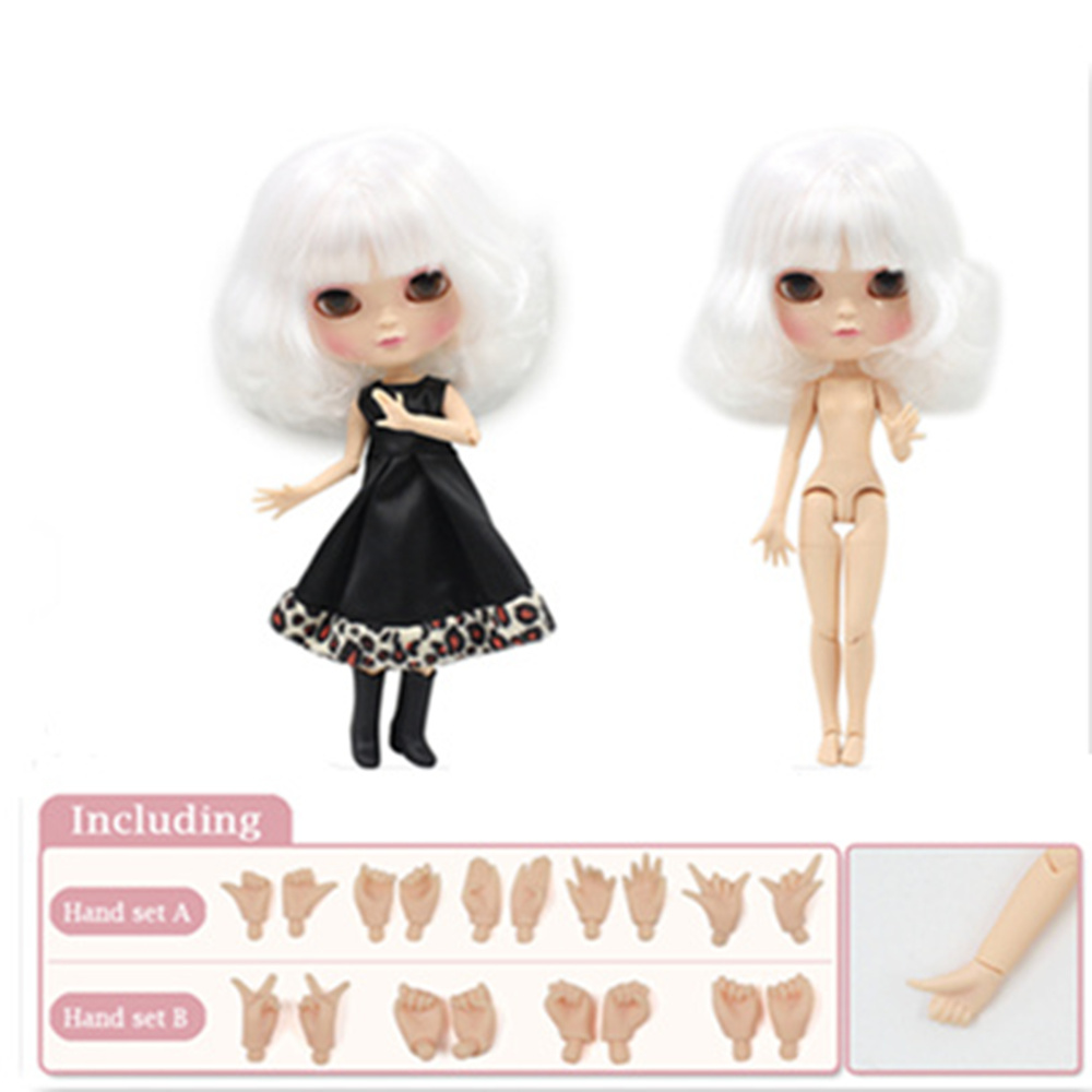 Fortune Days ICY Doll 1/6 joint body white short hair including hand set AB Gift like the Neo blyth doll 30cm High Quality toys