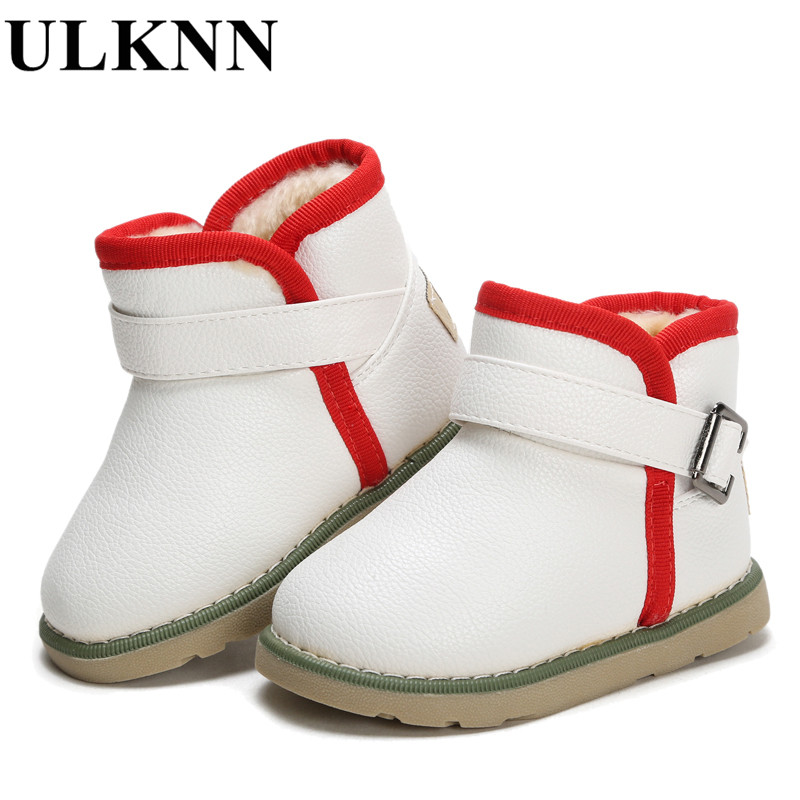 adae56792 Ulknn зимняя детская Обувь для мальчиков ботинки для девочек резиновые  полусапожки Пояса из натуральной кожи Мех животных теплые Водонепроницаемый  ...