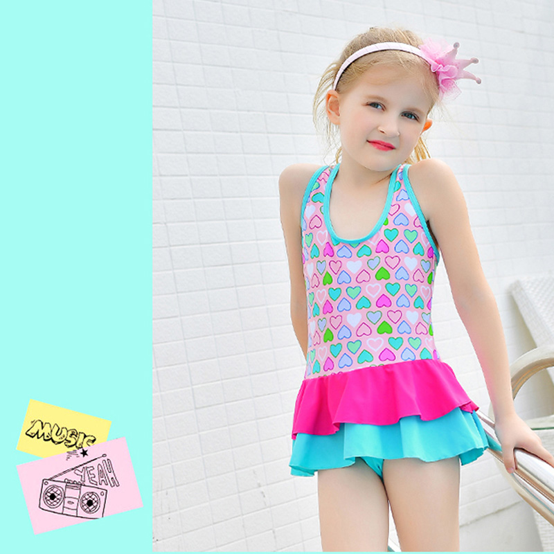 Rhyme Lady 2017 Print Swimwear Blue and Pink Girls Swimsuit Bathing suit Beachwear Push up Children Swim suit One Piece