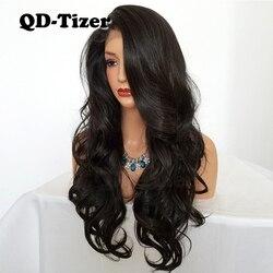 QD-Tizer Natuurlijke Haarlijn Lijmloze Hoge Temperatuur Fiber Haar Pruiken Zwitserse Lange Golvend 4 # Bruin Synthetische Lace Front pruik voor Vrouwen
