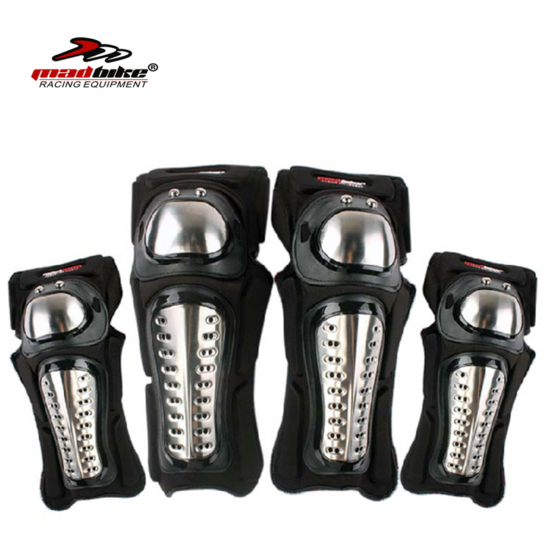 Madbike joelho cotovelo proteção de aço inoxidável joelho da motocicleta proteger joelho guarda de moto almofadas Protector Guard 2 conjuntos / 4 pcs