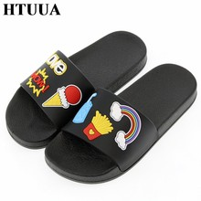 HTUUA New Korean Ice Cream Slippers Women Flat Slides Indoor Bathroom Home Slippers Outdoor Beach Flip Flops Summer Shoes SX2176(China)
